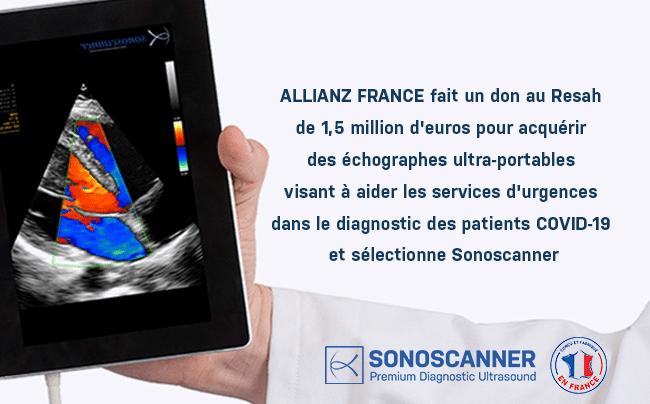 ALLIANZ FRANCE fait un don au Resah de 1,5 million d'euros pour acquérir des échographes ultra-portables visant à aider les services d'urgences dans le diagnostic des patients COVID-1919