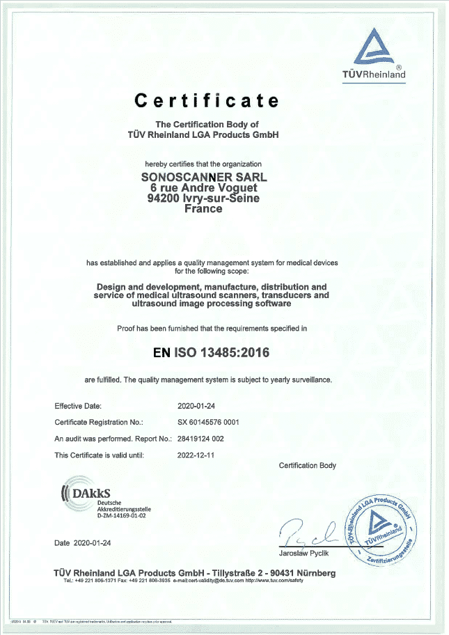 Certification Sonoscanner 2