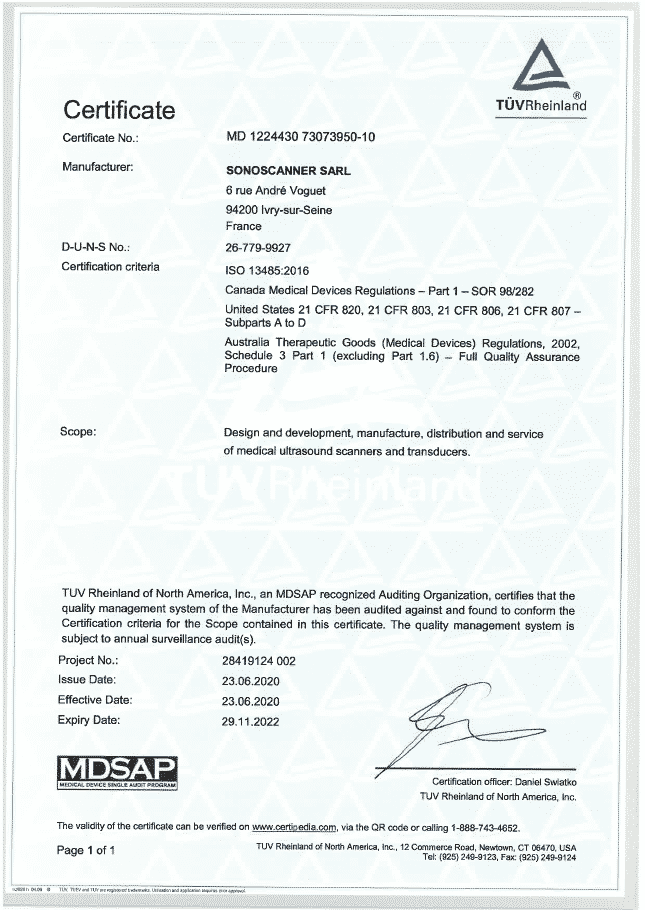 Certification Sonoscanner 3